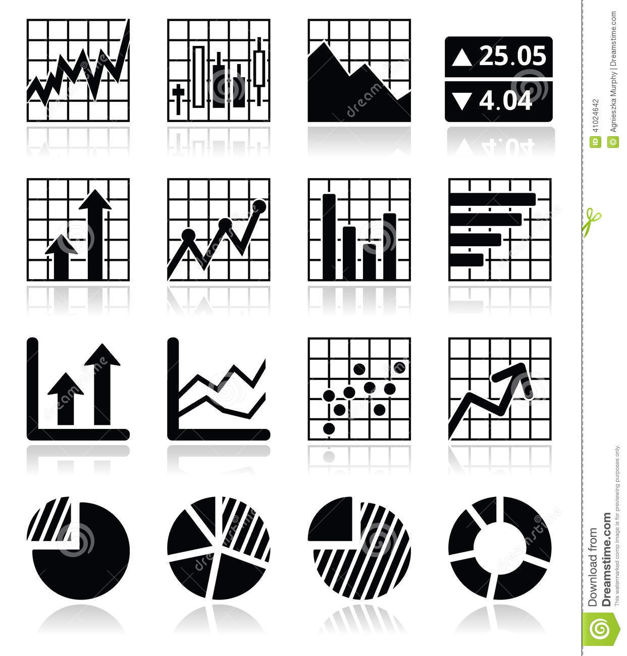Stock Marketysis Chart And Graph Icons Set Stock
