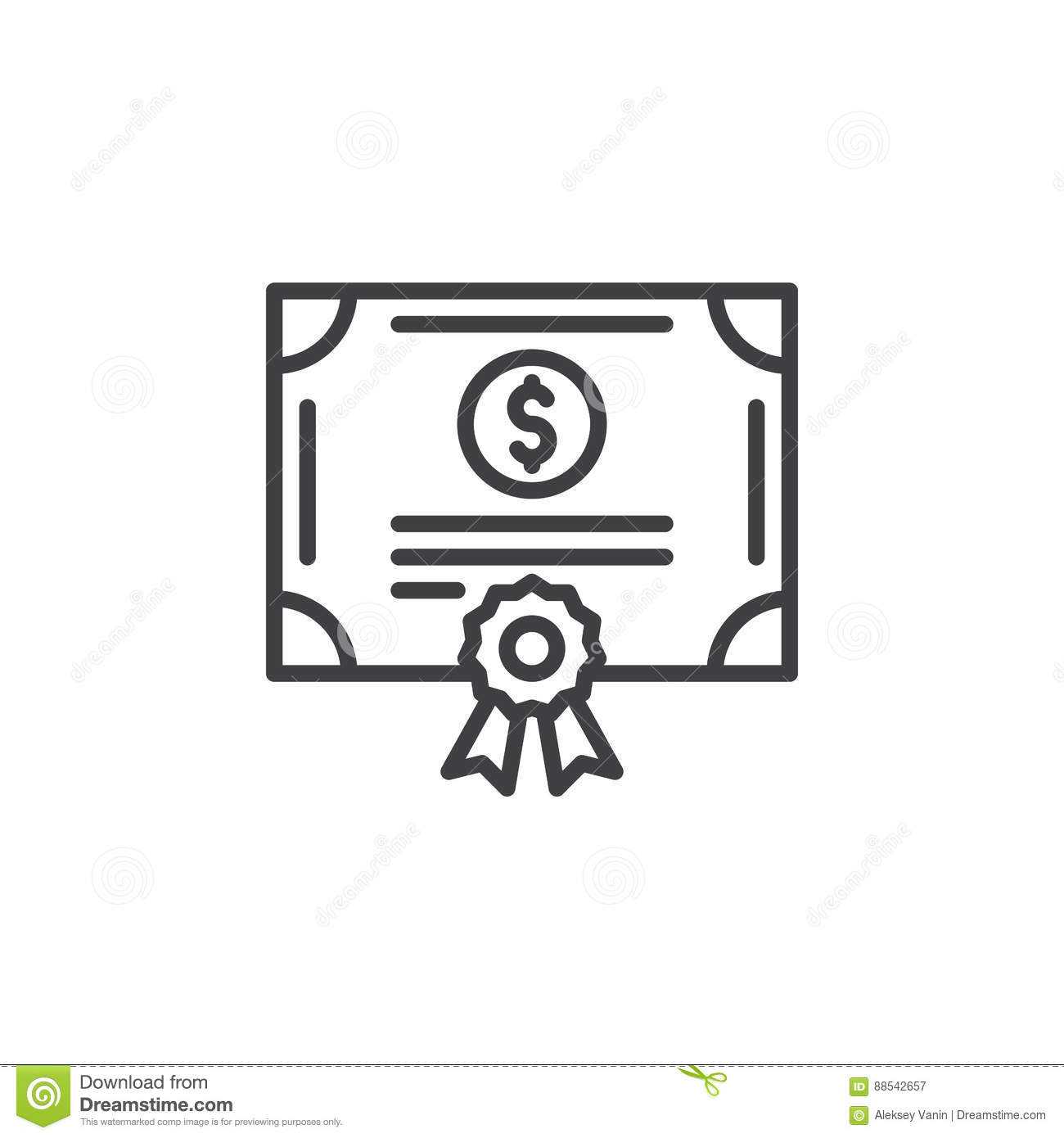 Stock Share Certificate Line Icon Outline Vector Sign