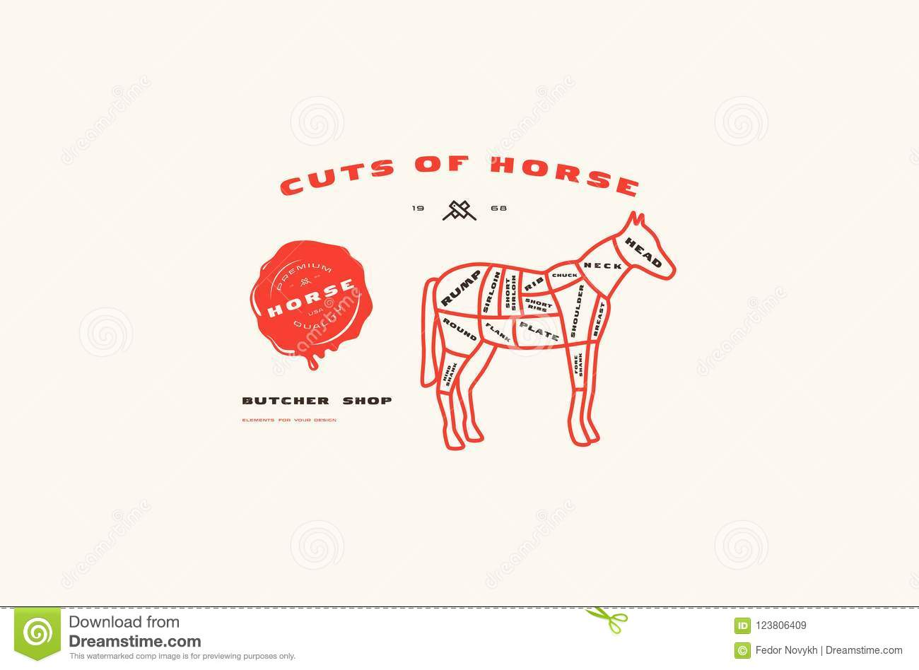 hight resolution of stock vector horse cuts diagram in thin line style