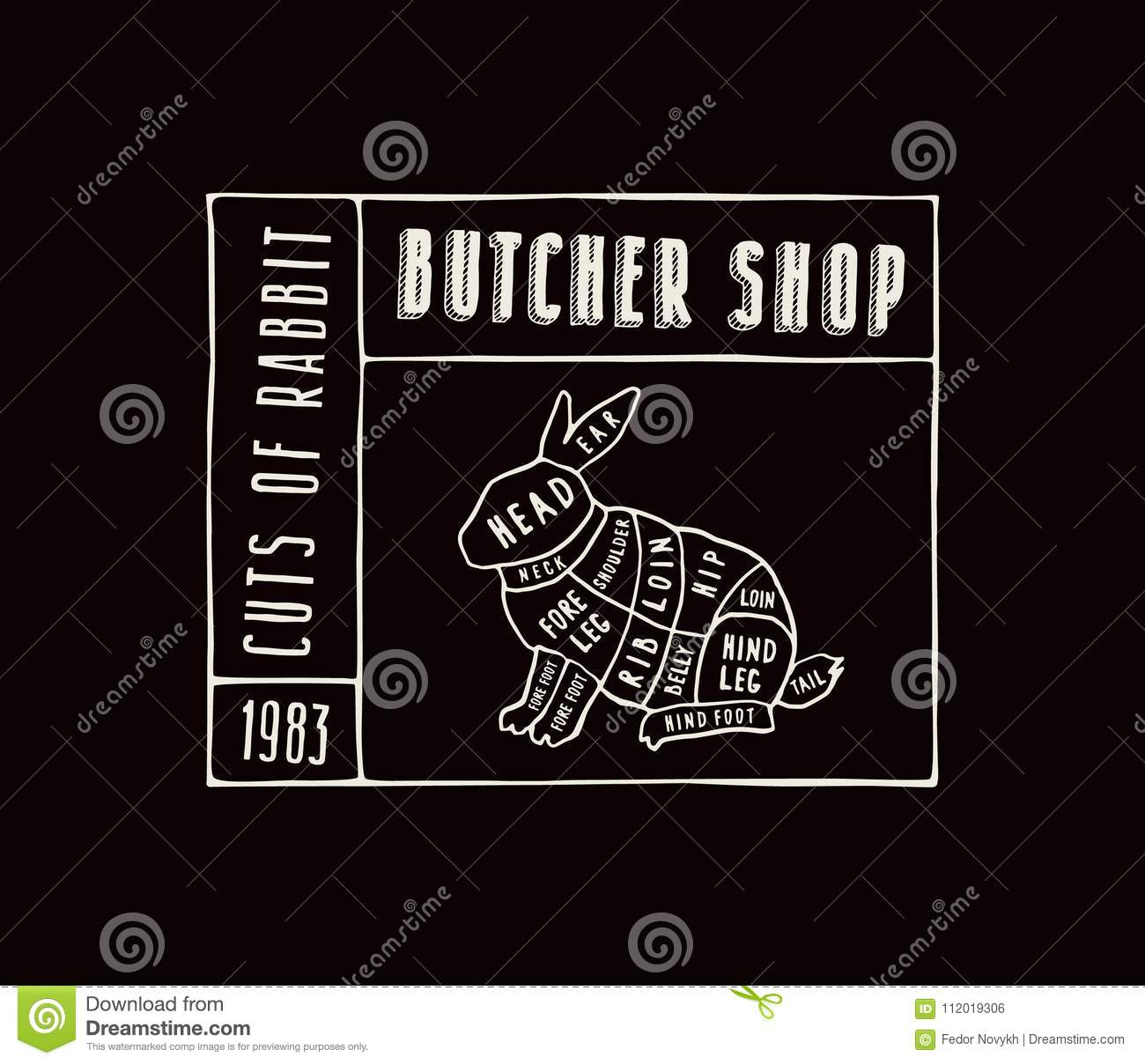 hight resolution of stock vector rabbit cuts diagram in the style of handmade graphi