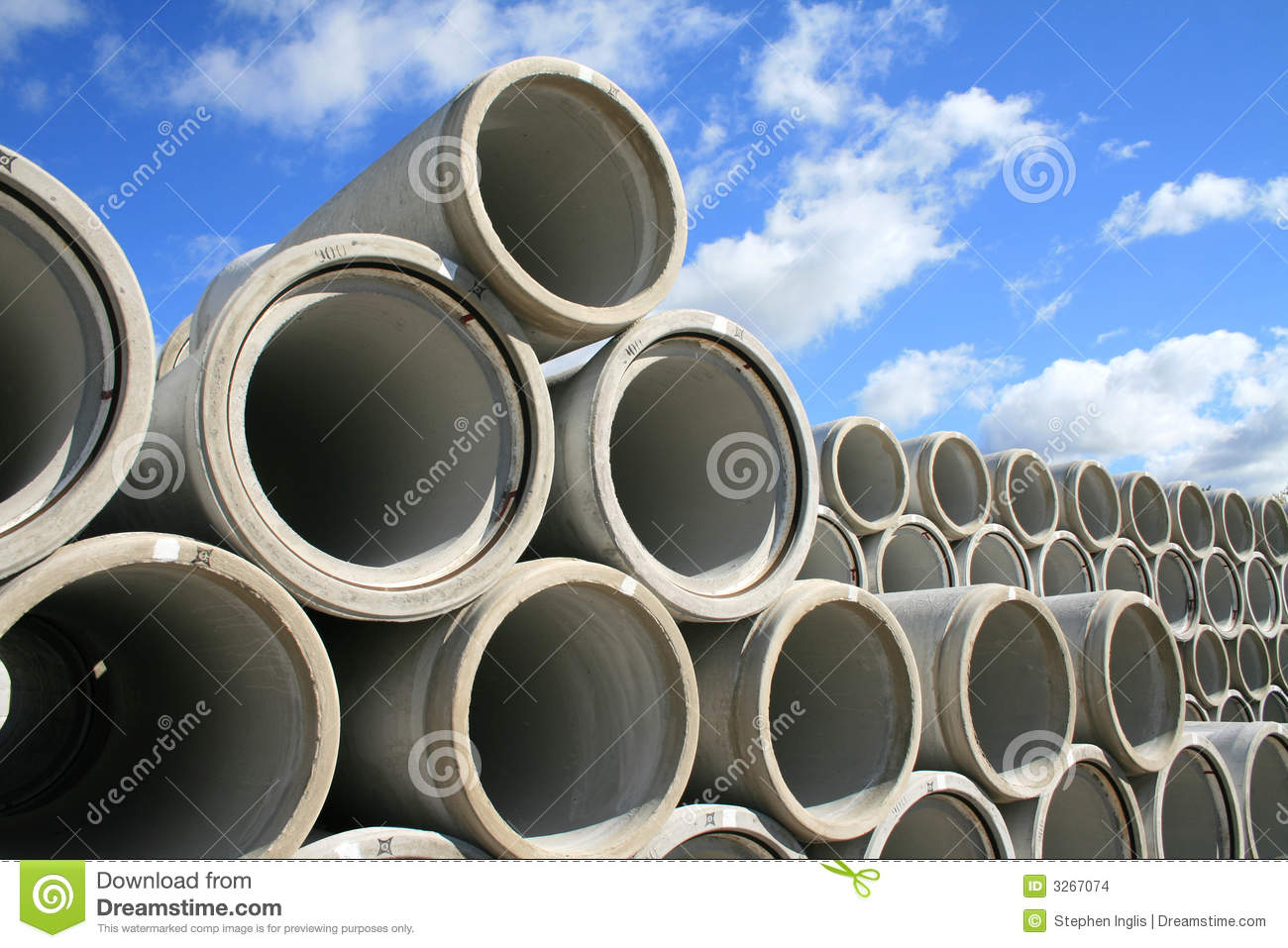 Stockpile of water pipes stock photo. Image of stacked