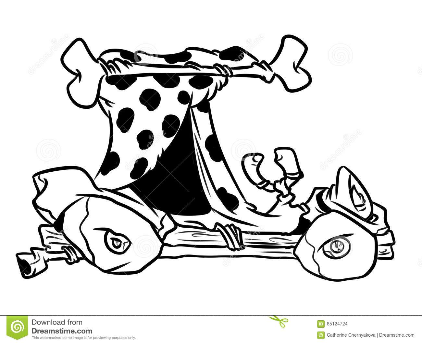 Stone Age Retro Car Coloring Page Cartoon Stock