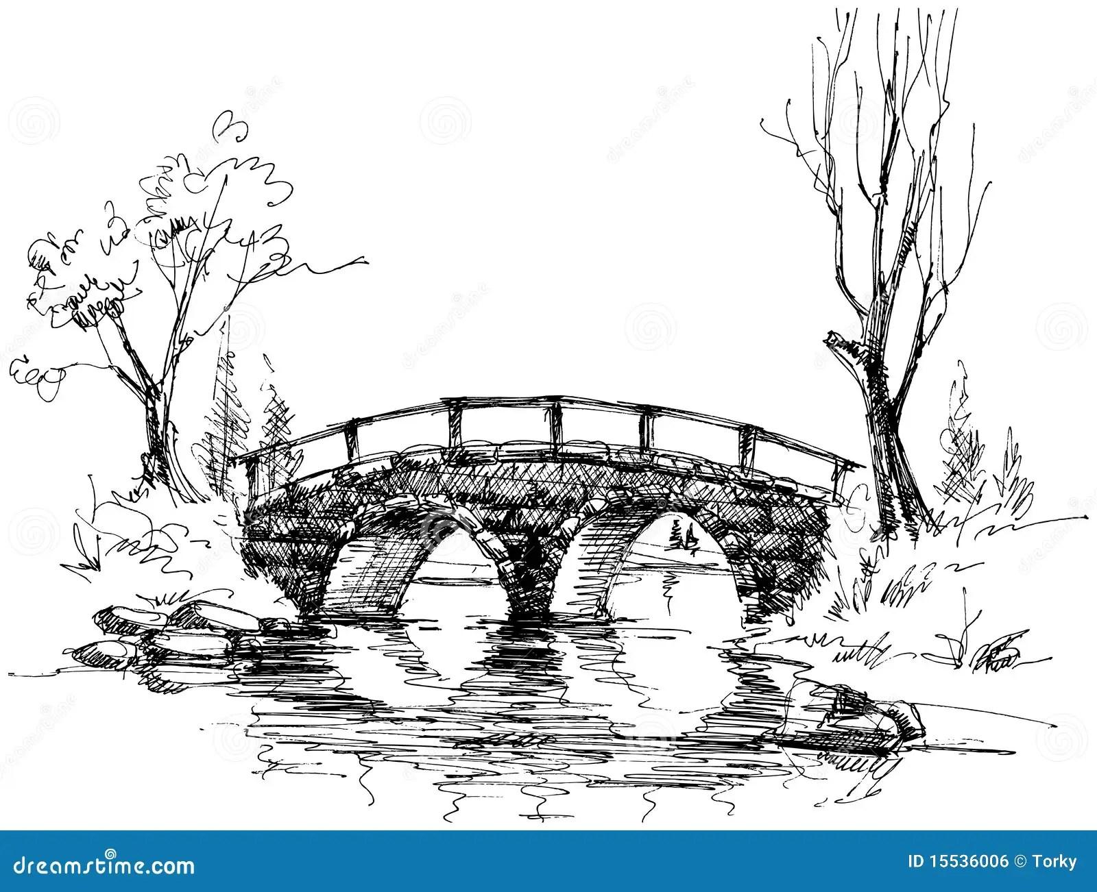 Stone Bridge Over River Stock Vector Image Of Plants