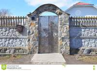 Stone And Metal Fence With Door Of Modern Style Design ...