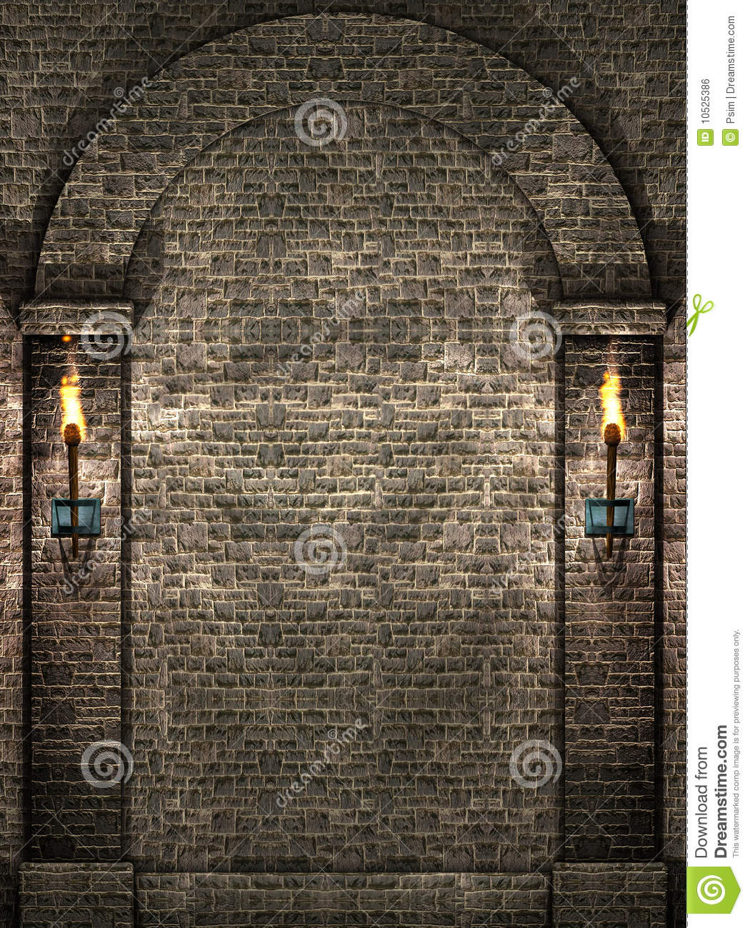 chair design iron dx racing stone wall with torches royalty free stock image - image: 10525386
