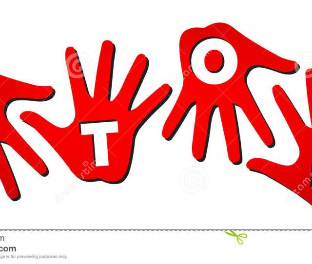 Vector Plastic White Letters Of Word Stop On Isolated Red Hands On White Background