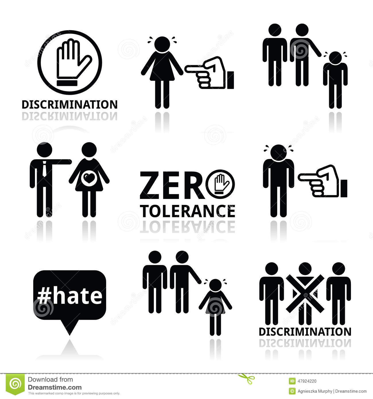 Stop Discrimination Of Men, And Women Icons Set Stock