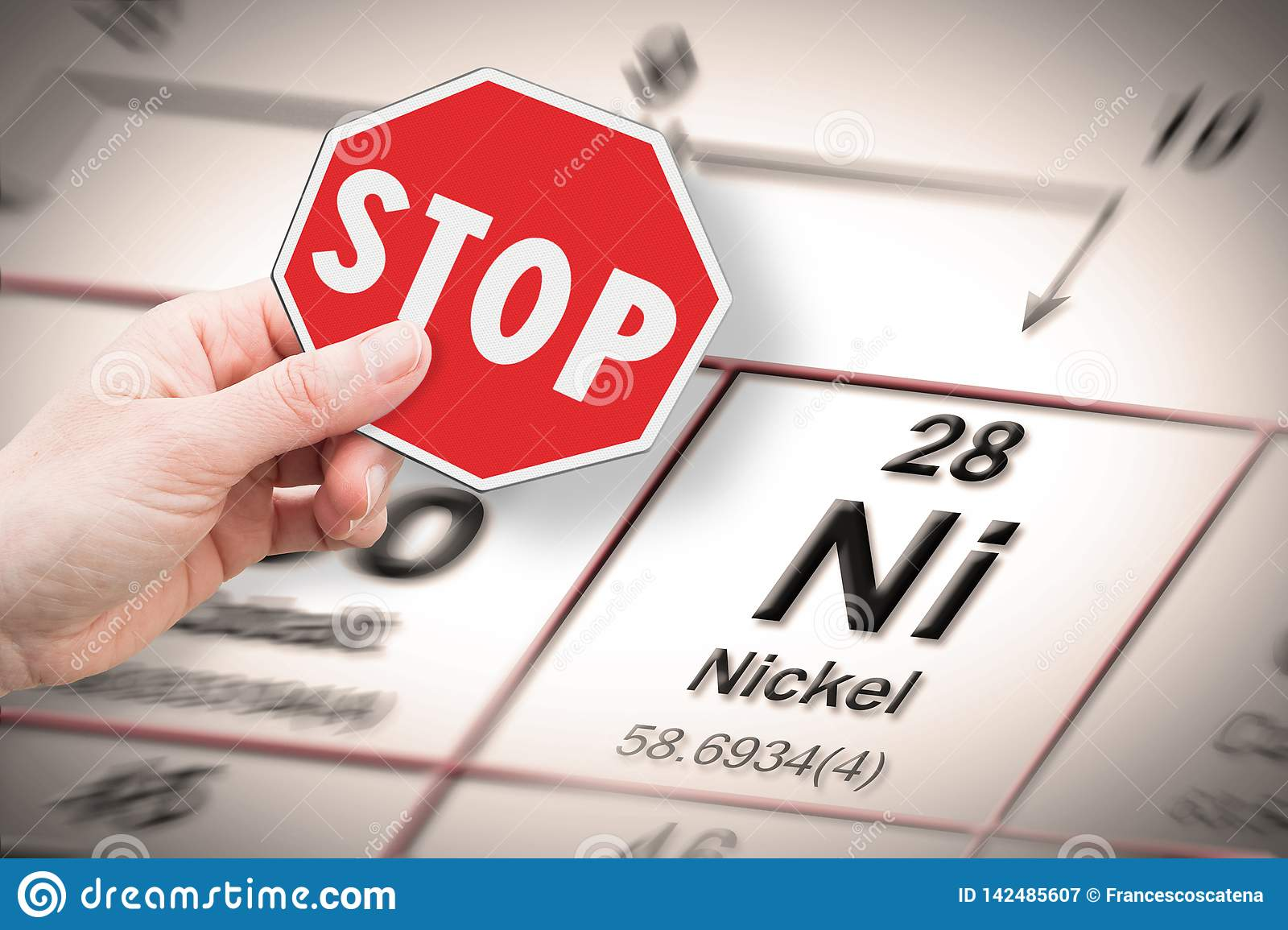 Stop Heavy Metals - Concept Image With Hand Holding A Stop Sign Against A Nickel Chemical Element With The Mendeleev Periodic Stock Image - Image ...
