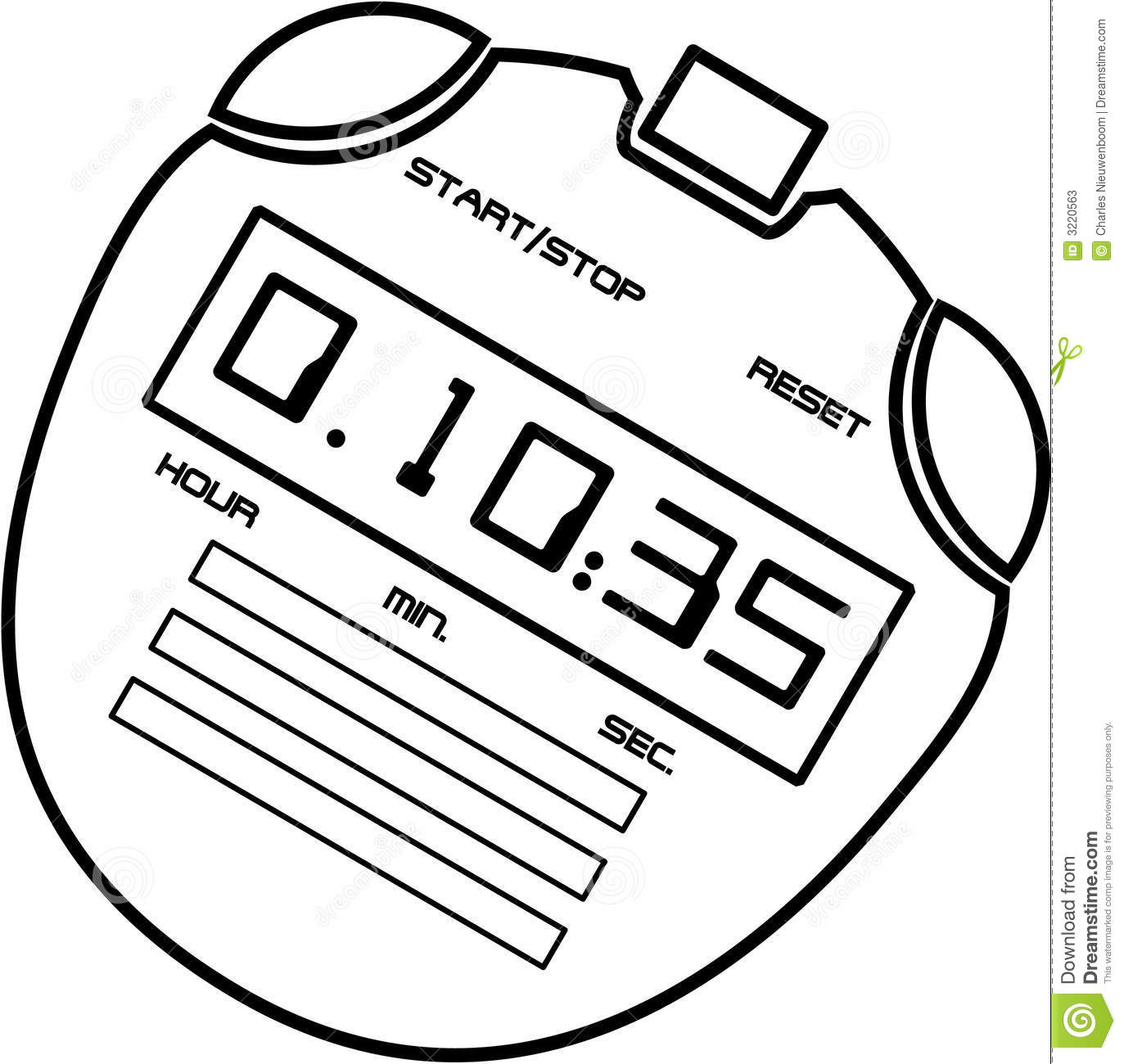Stopwatch stock vector. Image of digital, start, button