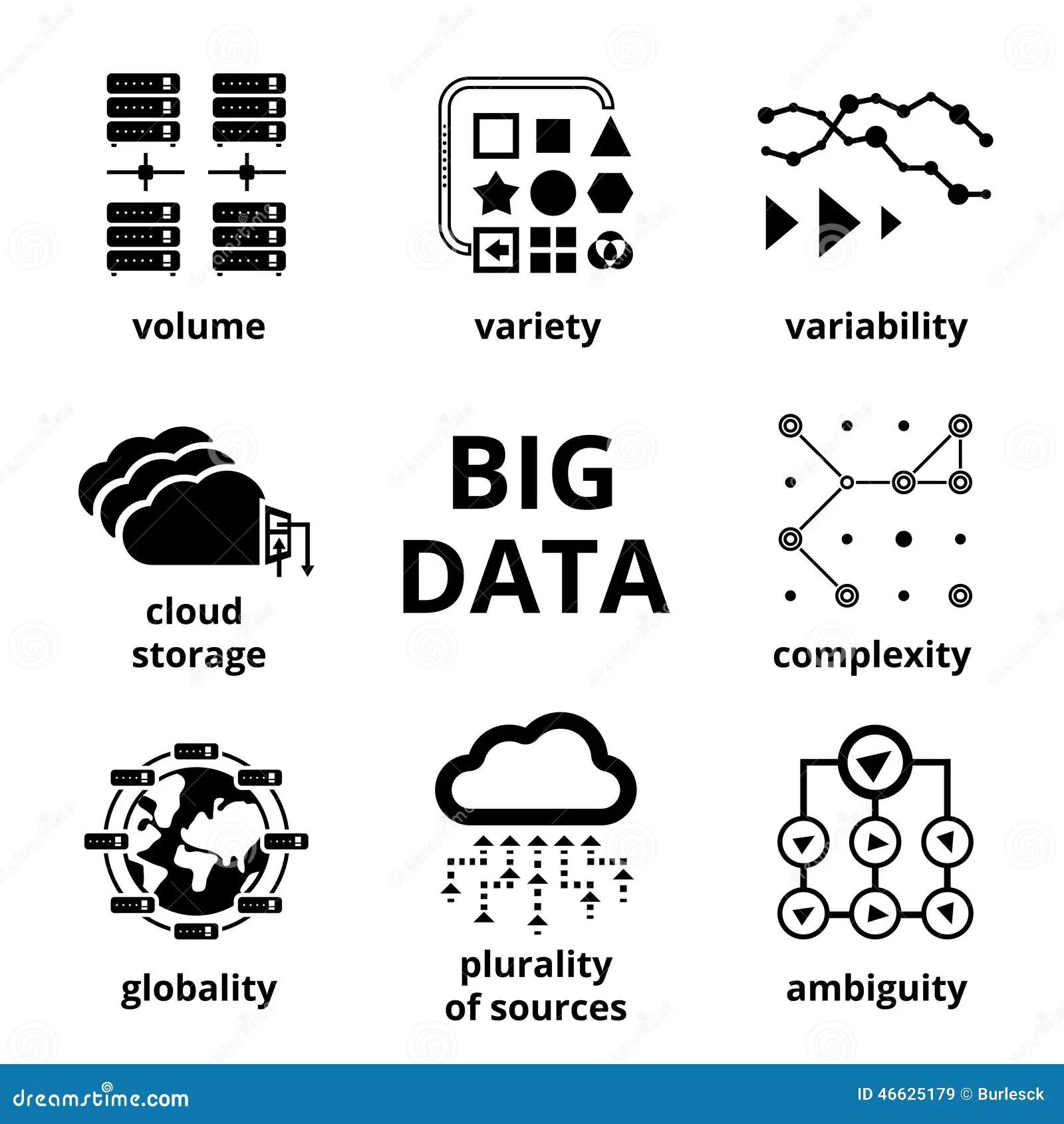 Stora Datasymboler Vektor Illustrationer Illustration Av