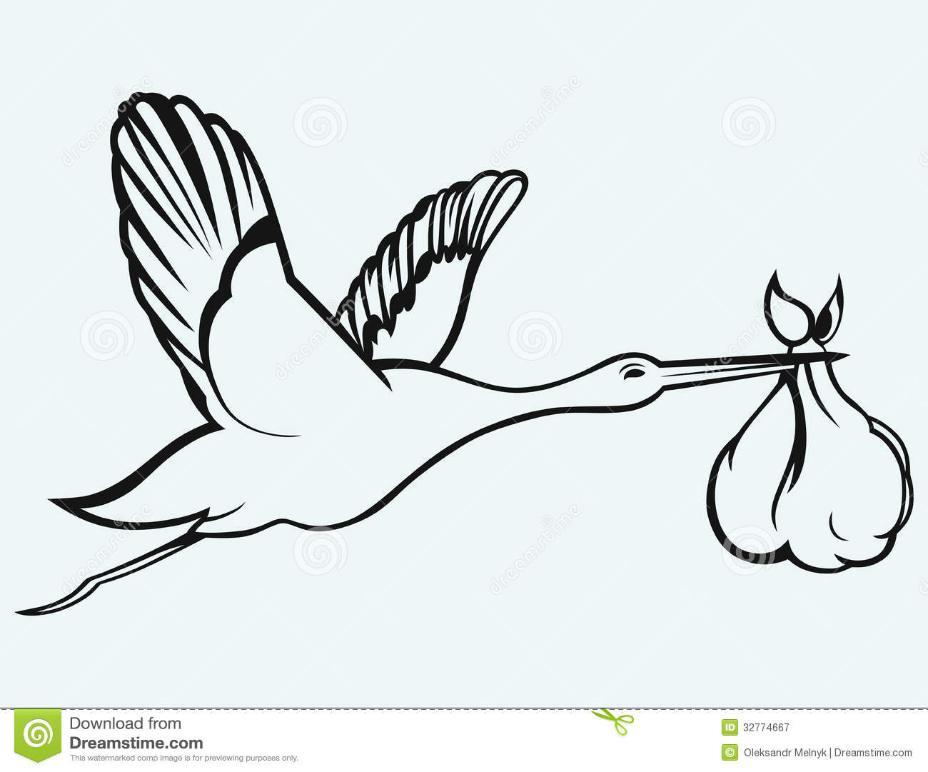 Stork With Baby Stock Vector Illustration Of Image