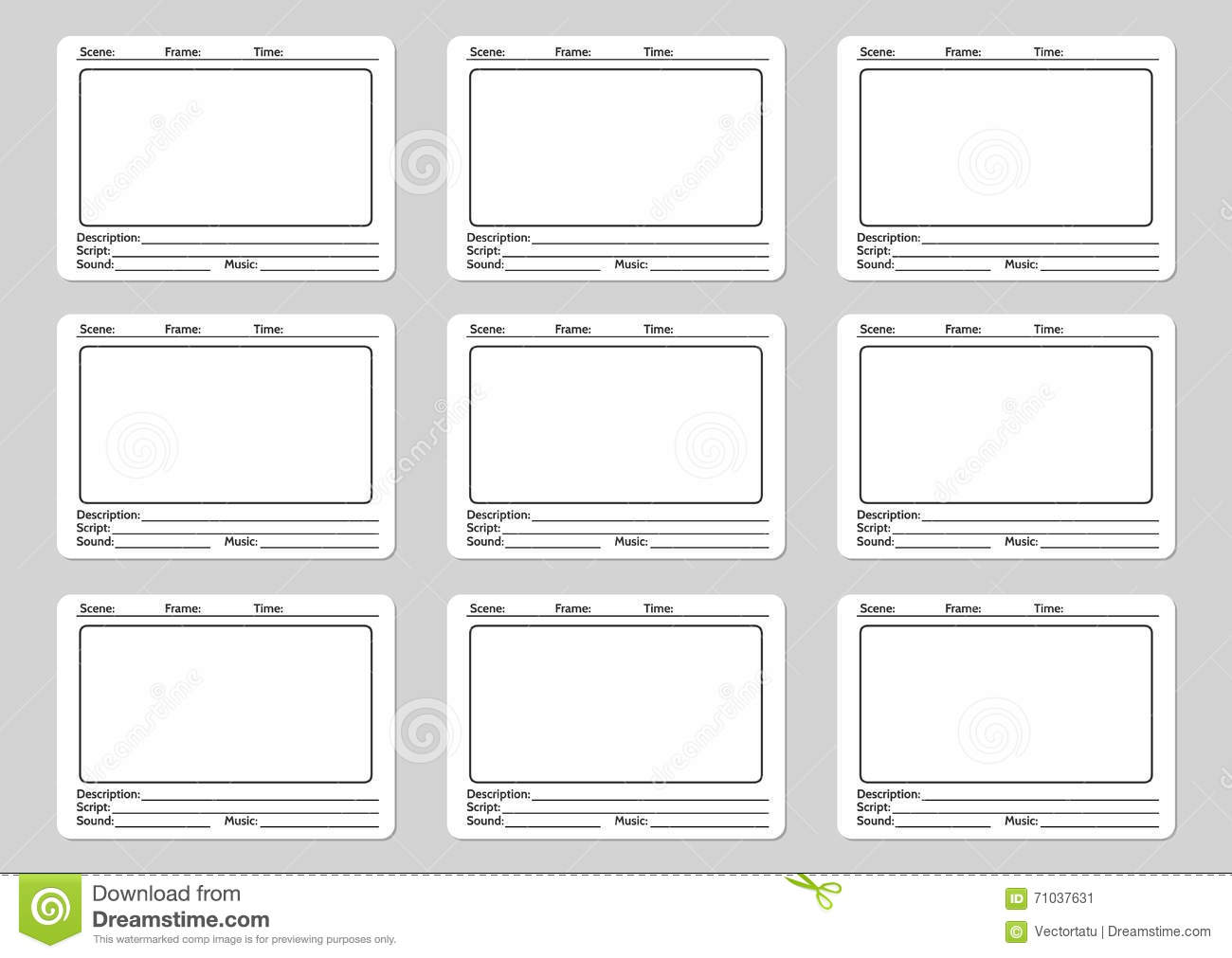 Storyboard Template For Film Stock Vector