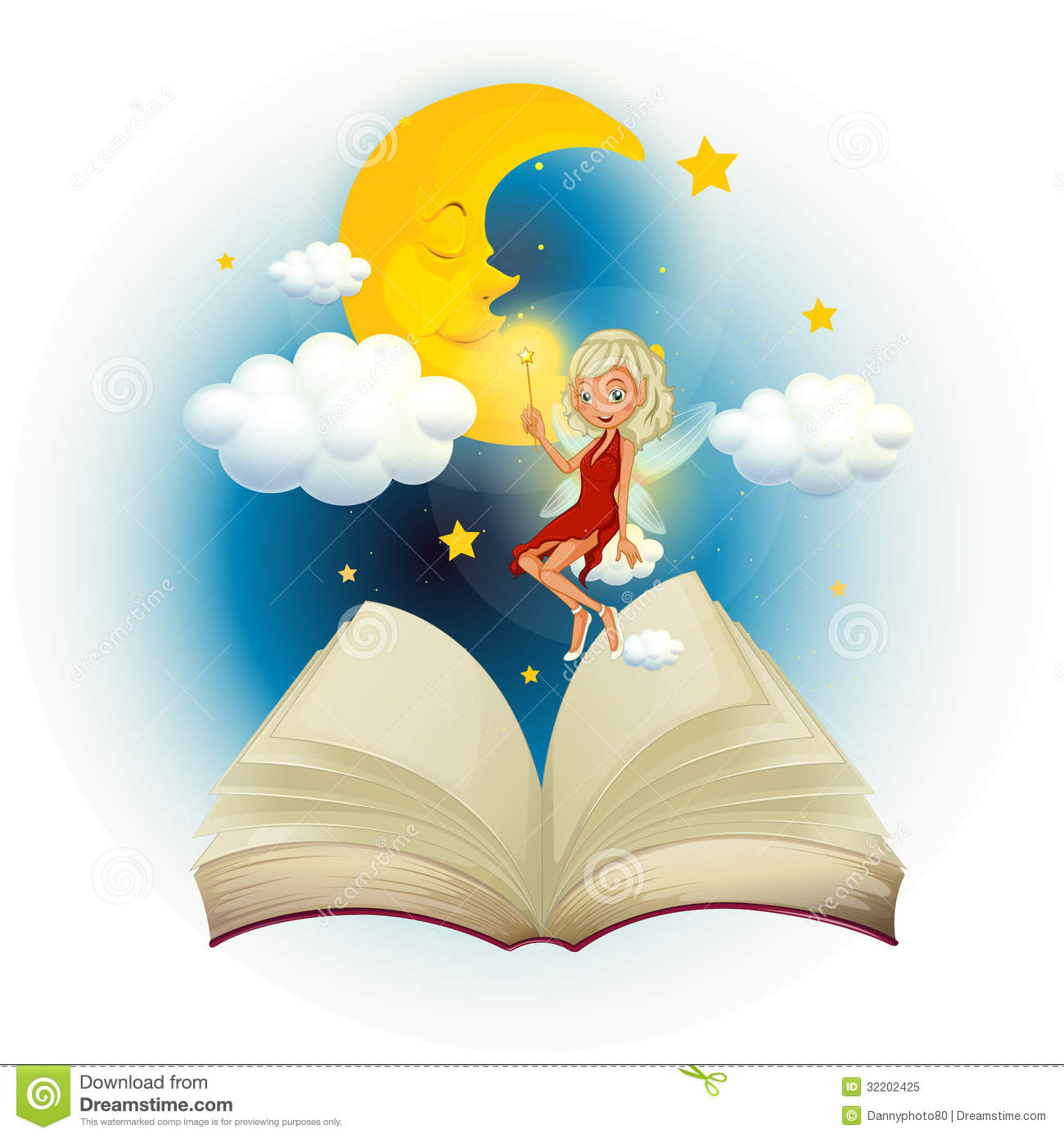 A Storybook With A Fairy And A Sleeping Moon Royalty Free