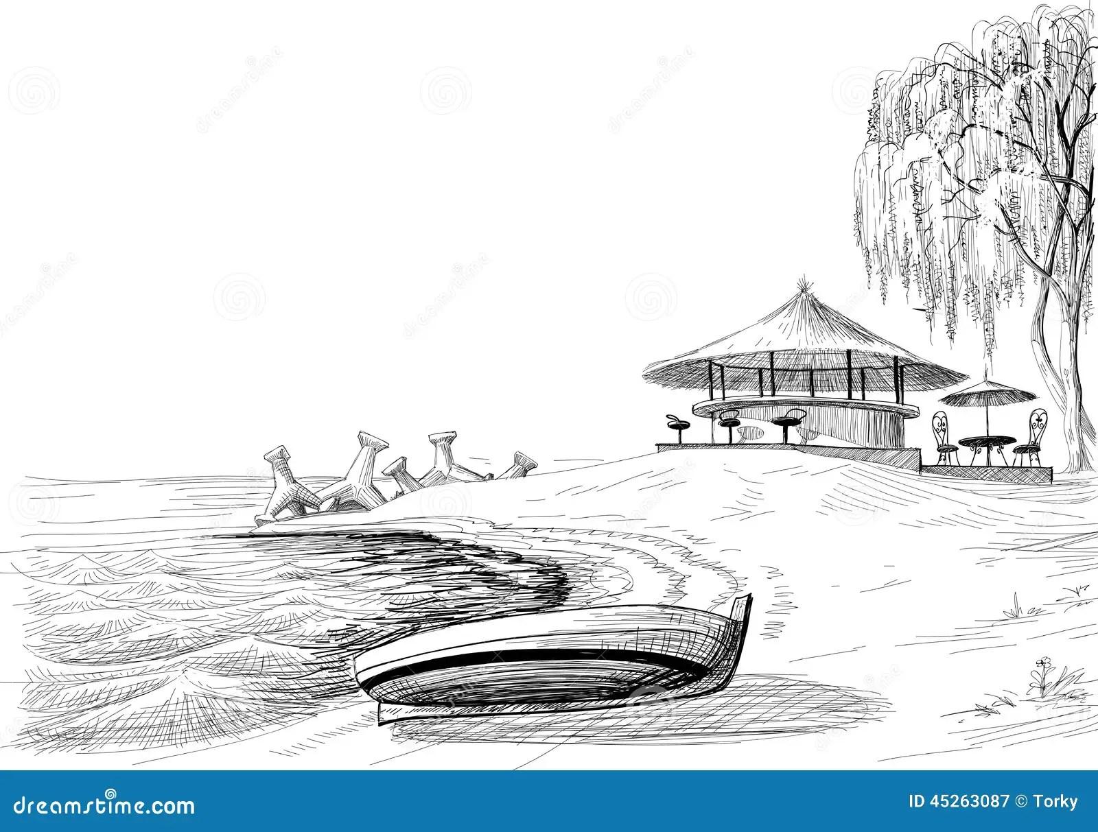 Strandbarskizze Vektor Abbildung Bild Von Palme Strand