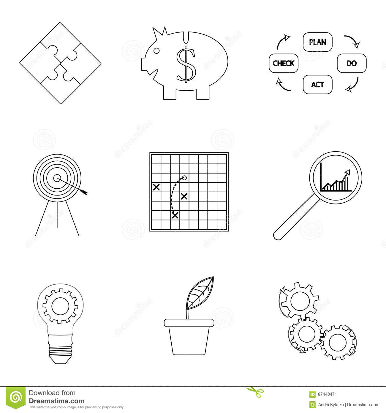 Strategy And Business Success Lined Icon Stock Vector