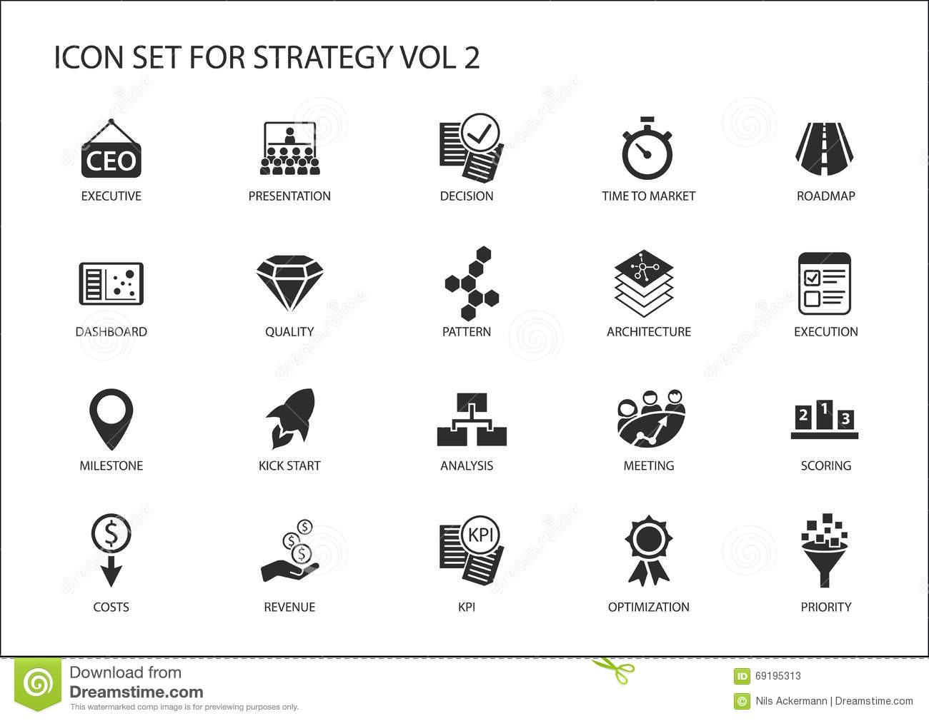 Strategy Icon Set With Various Symbols For Strategic Topics Like Optimization Dashboard