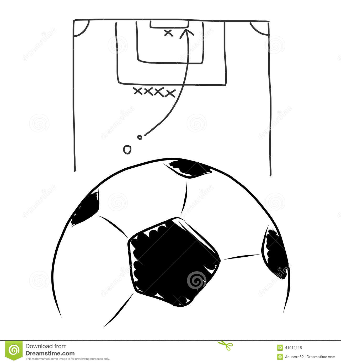 Strategy Soccer Free Kick Hand Draw Stock Illustration