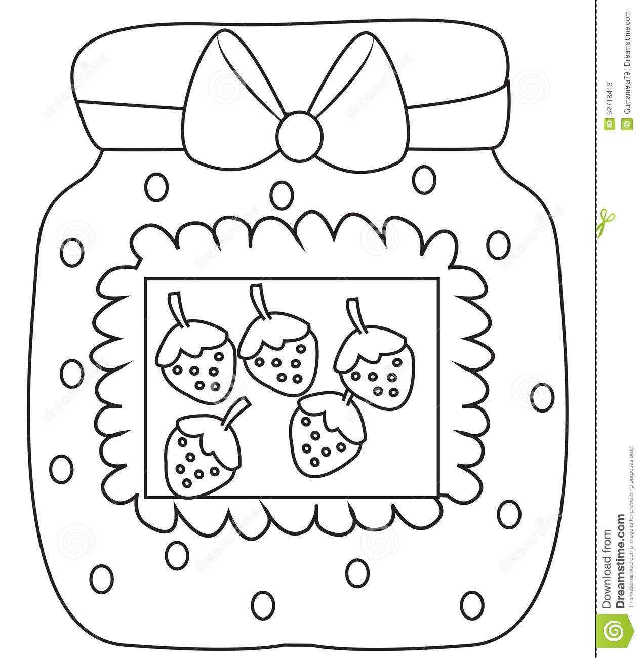 Strawberry Jam Coloring Page Stock Illustration
