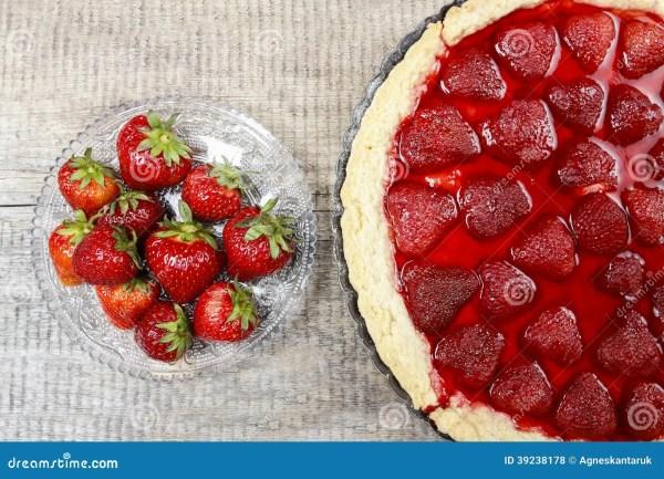 Strawberry Tart And Bowl Of Fresh Strawberries Stock Photo