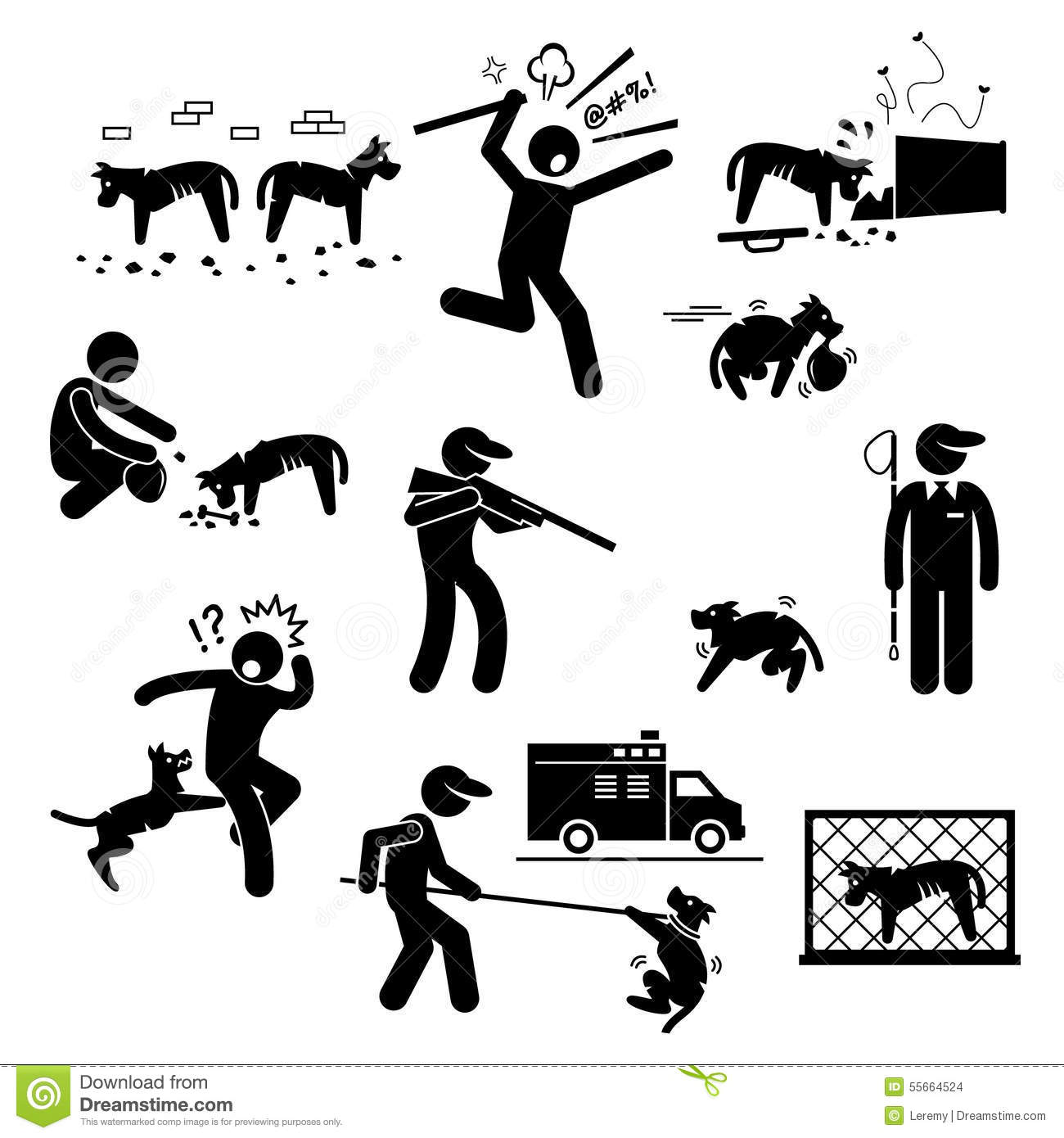 Stray Dog Problem Issue Clipart Stock Vector