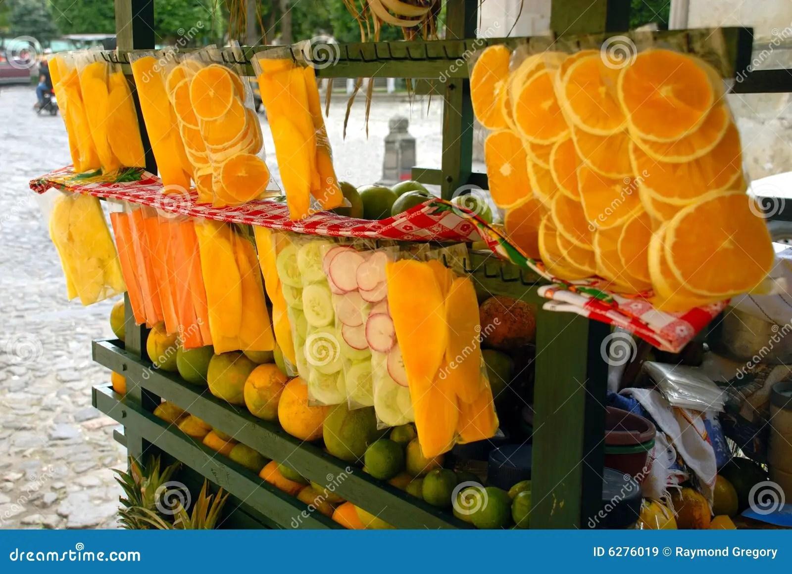 Street Cart Fruit Stand Antigua Guatemala Royalty Free