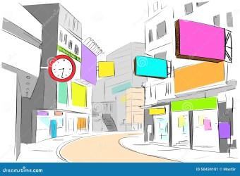 street sketch vector center draw colorful shops buildings ville tiraggio het stadsmening trekt kleurrijke rua croquis vista centro cidade cartoon