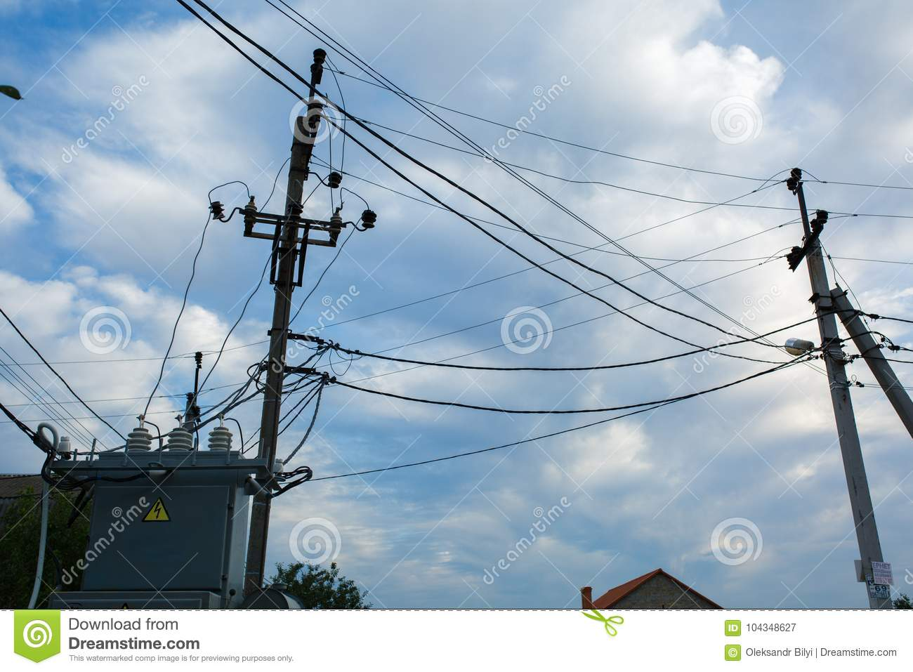 hight resolution of street electric current transformer with wires on the pole electrical distribution box