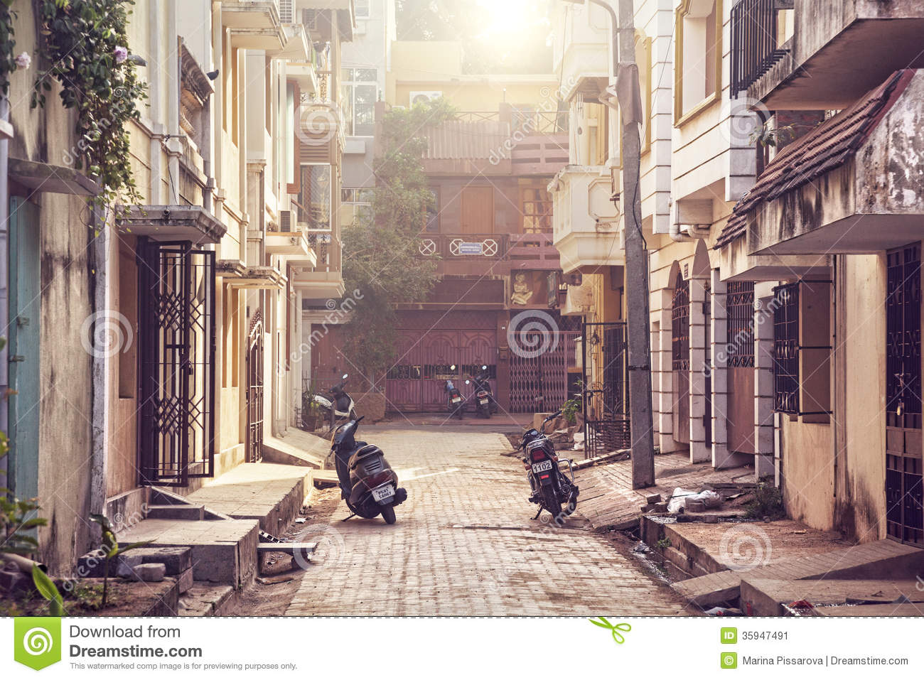 Street in Puducherry editorial photo Image of french  35947491