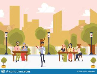 Street Restaurant With People On Cityscape Background Flat Vector Illustration Stock Vector Illustration of eating outside: 165941407