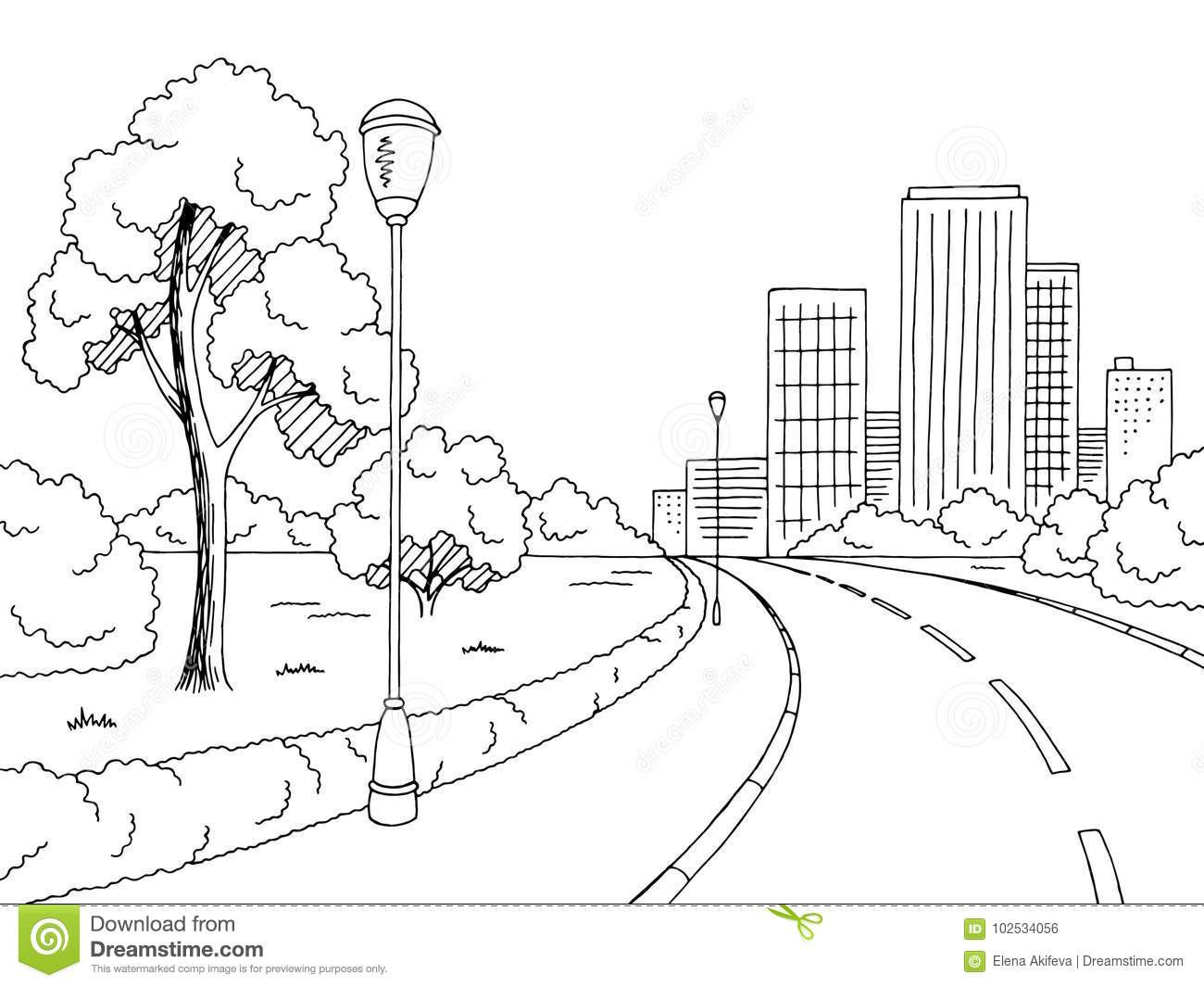Street Road Graphic Black White City Landscape Sketch