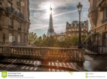 Street View With Eiffel Tower In Paris France Stock