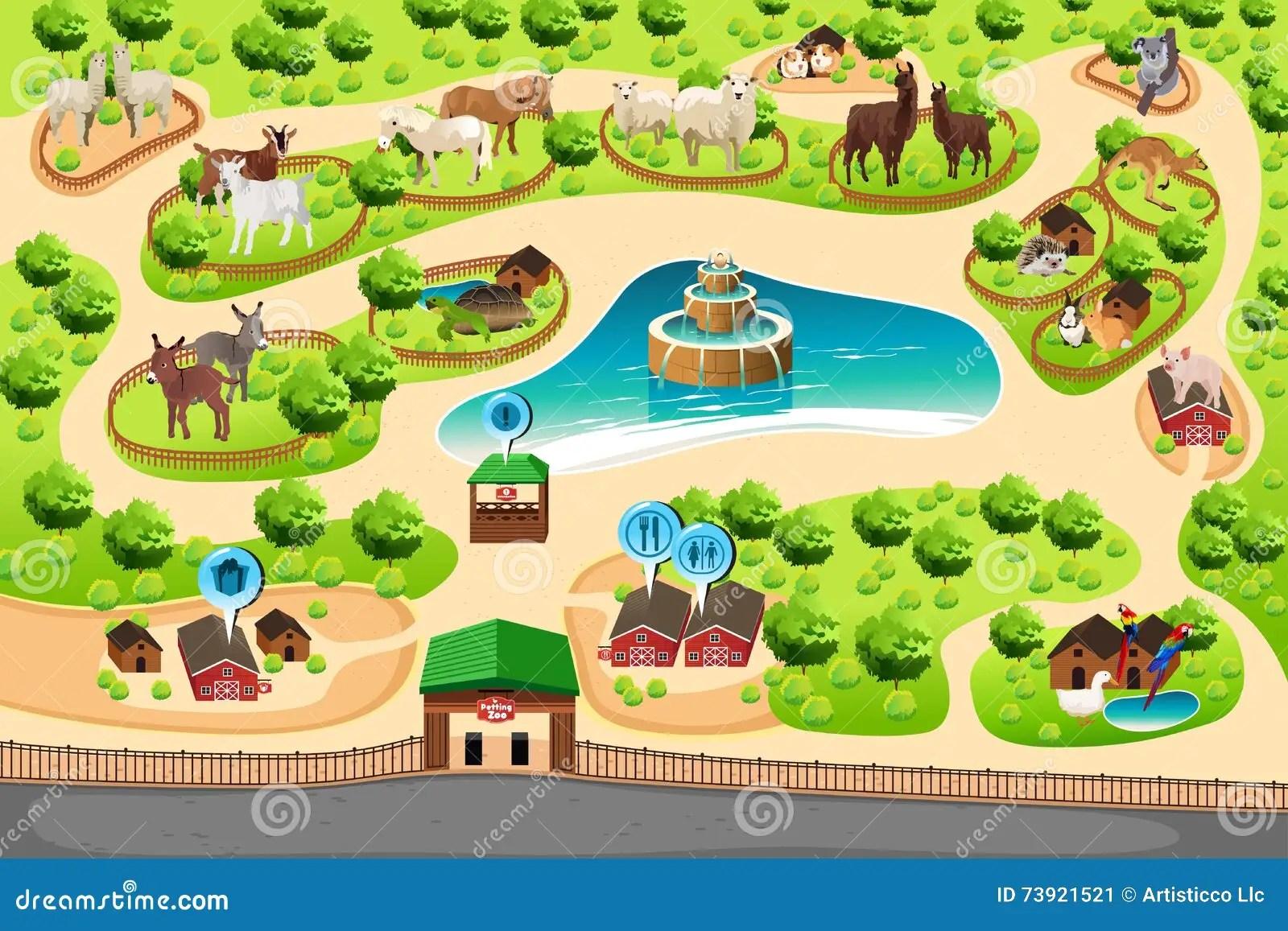 Streichelzoo Karte Vektor Abbildung Illustration Von