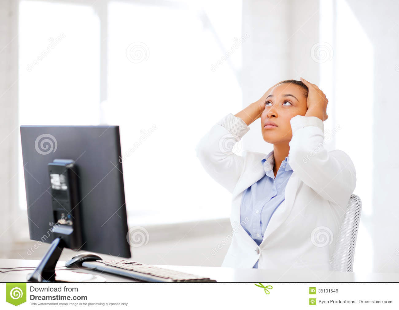 Stressed African Woman With Computer Royalty Free Stock Image  Image 35131646