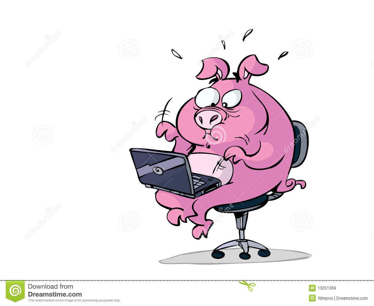computer chair for gaming office overstock stressed pig with laptop stock illustration. illustration of work - 13251369