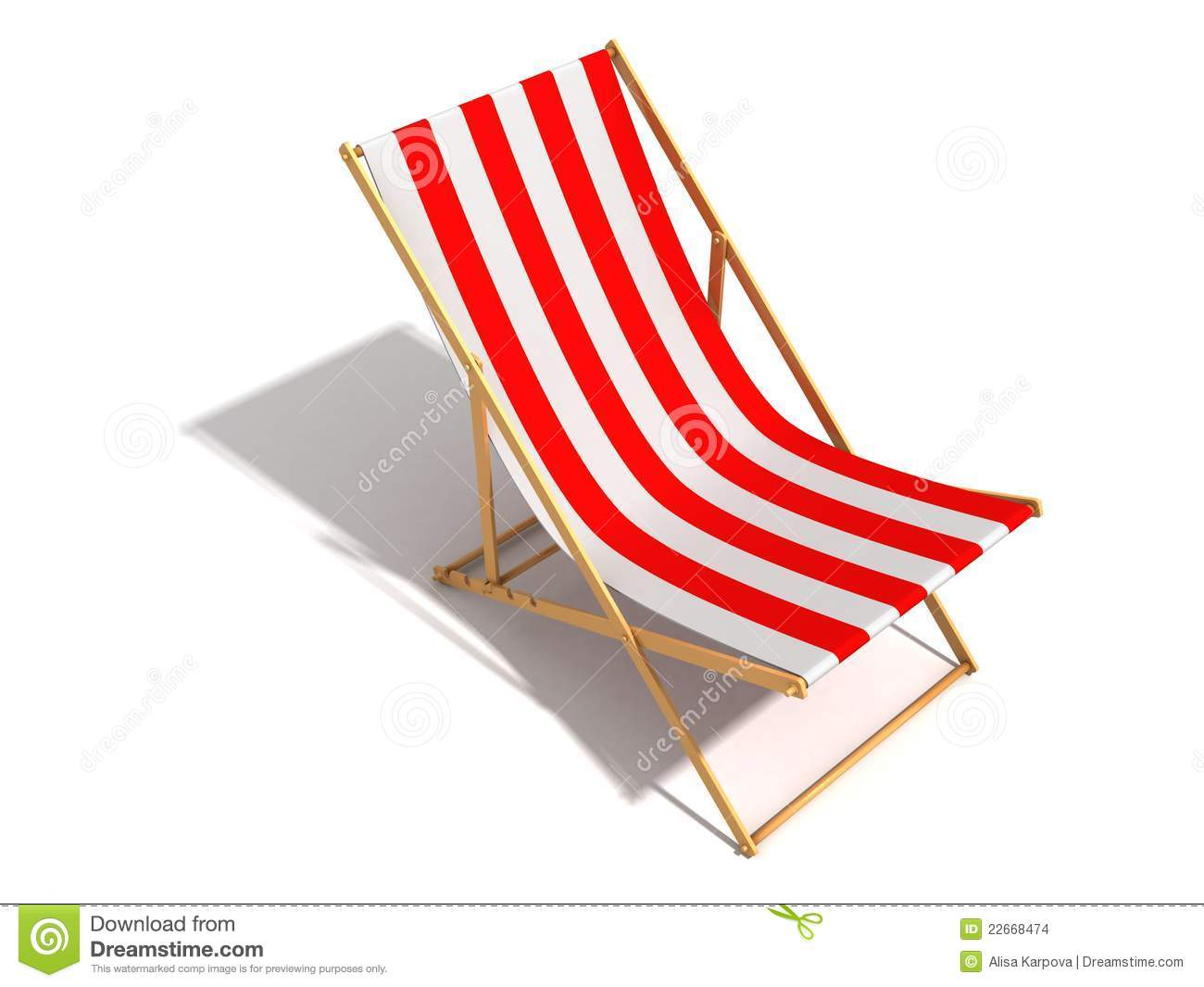 Striped Red White Beach Chair On White Background Stock
