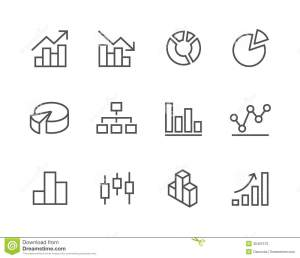 Stroked Graph And Diagram Icon Set Stock Photos  Image