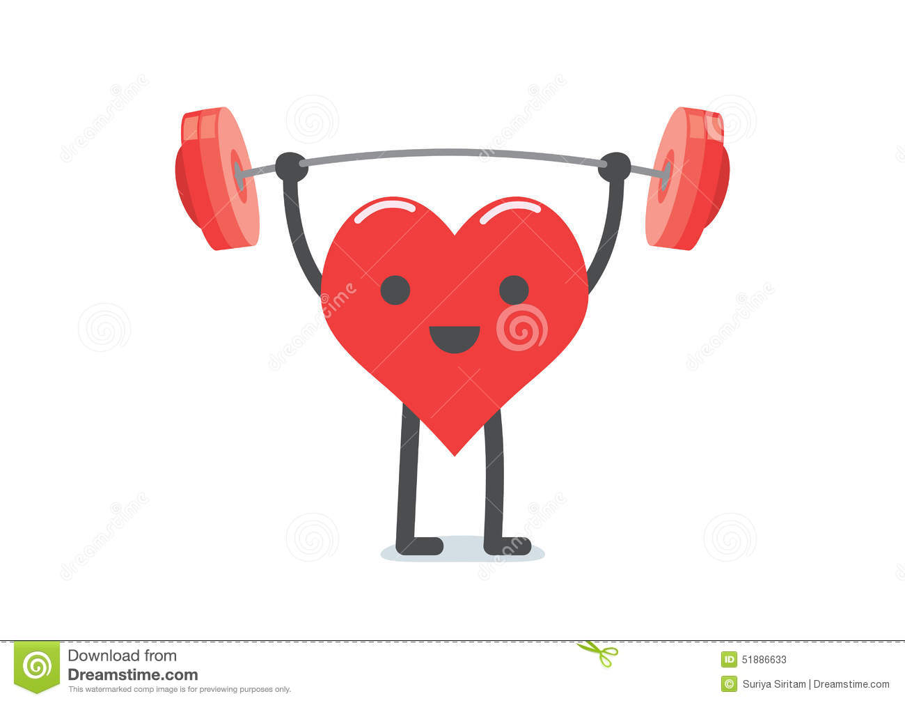 strong heart weight lifting stock vector image 51886633