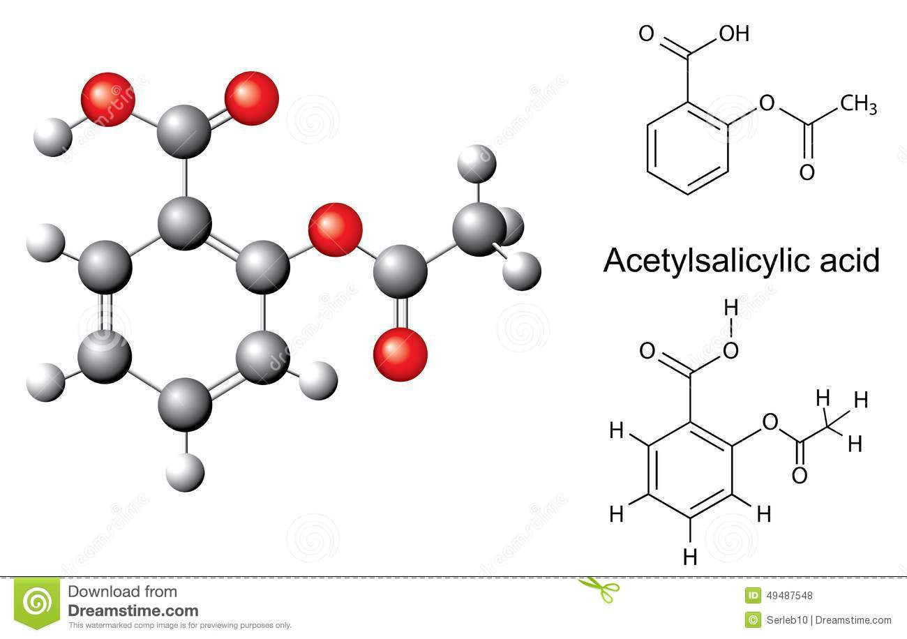 Structural Chemical Formulas And Model Of Acetylsalicylic