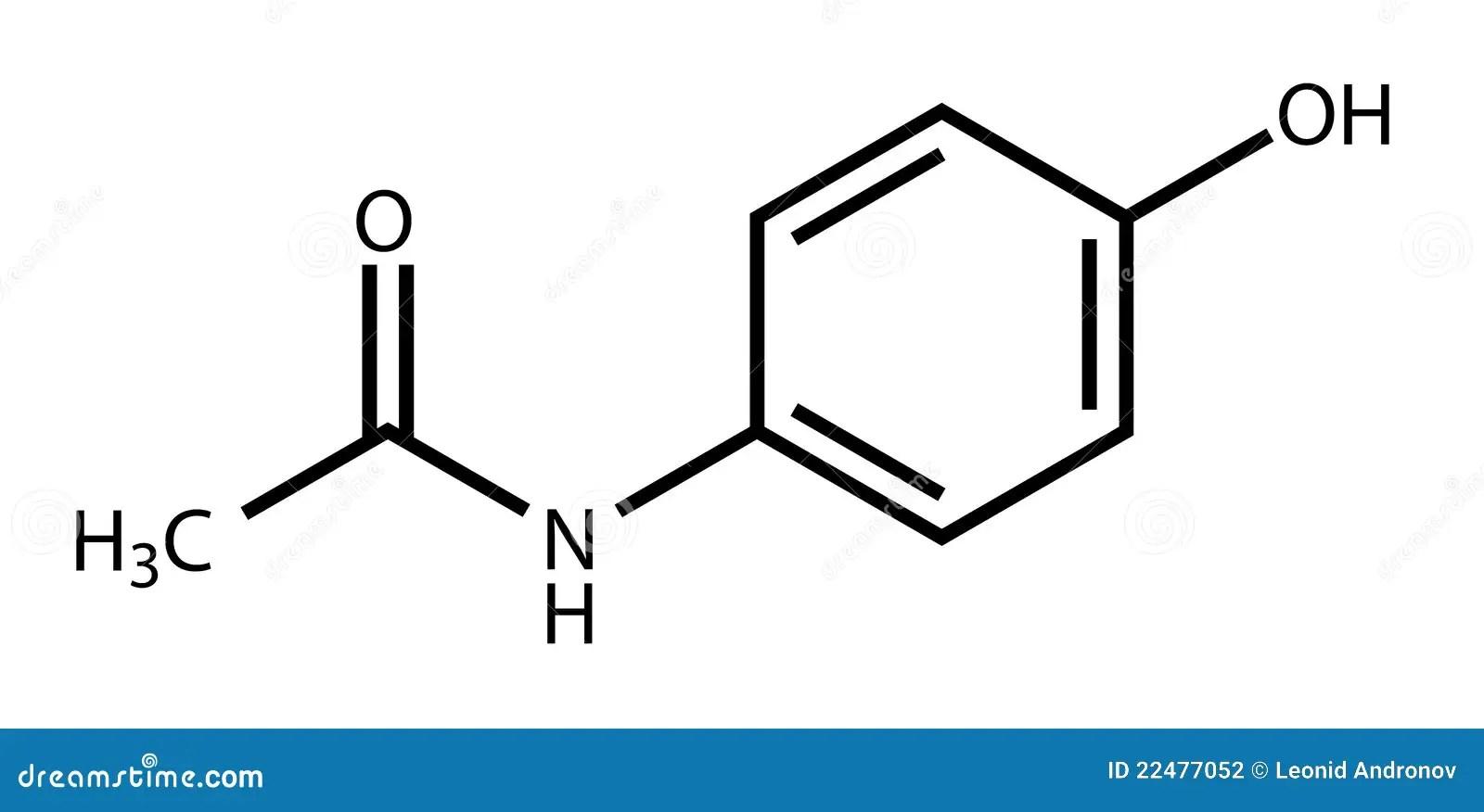 Structural Formula Of Paracetamol (acetaminophen) Stock