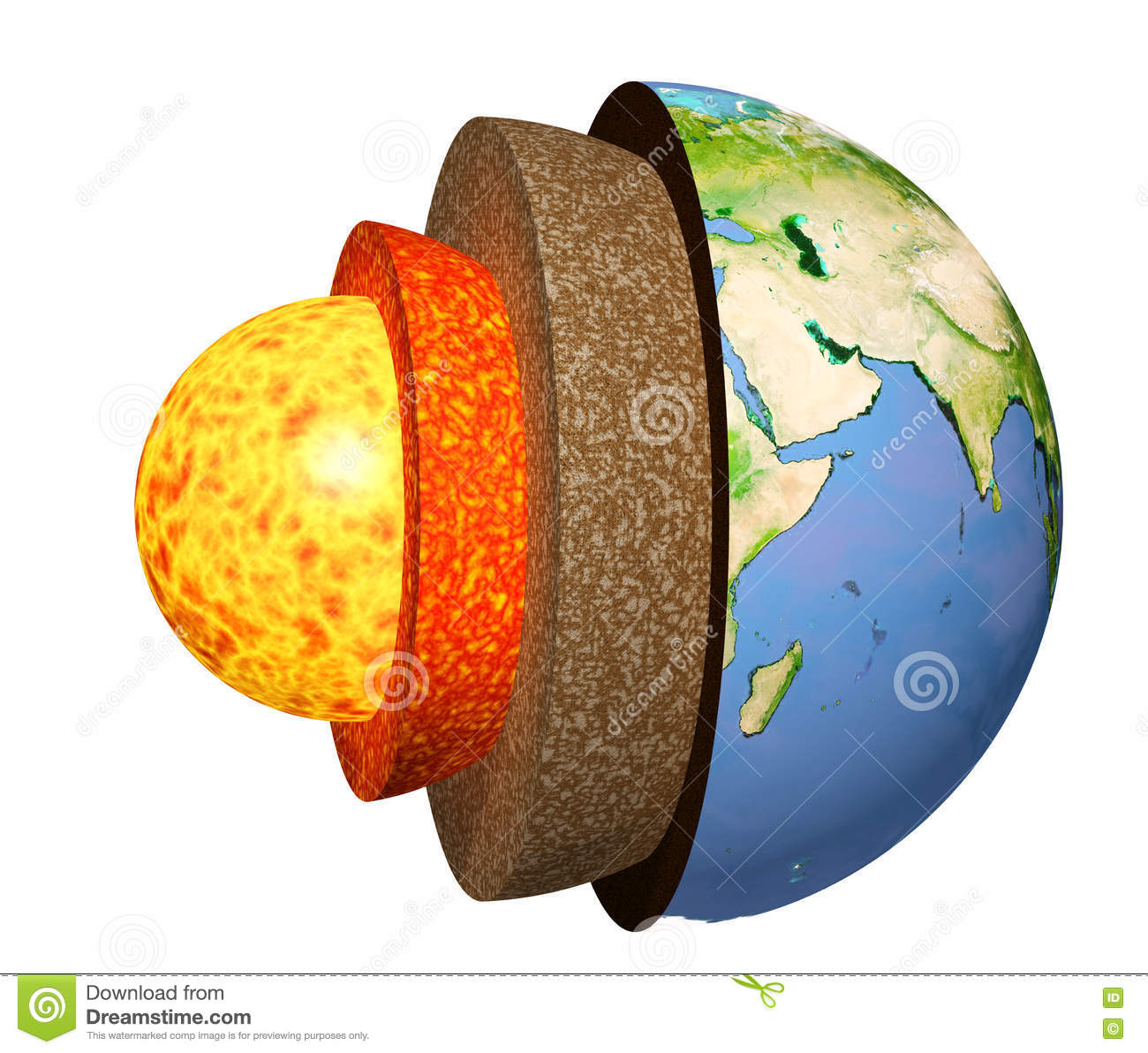 Structure Of The Earth Stock Illustration Illustration Of