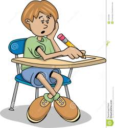 student cartoon clipart bored boy notes taking sleepy working sitting clip take kid classroom royalty writing vector mr