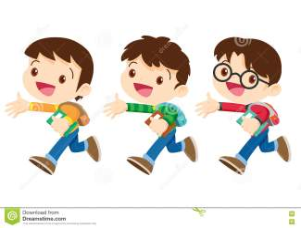 walking student boy character cartoon way go cute three preview