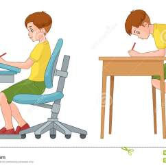 Posture Study Chair Swivel En Fr Student Boy Writing Incorrect And Correct Back Sitting