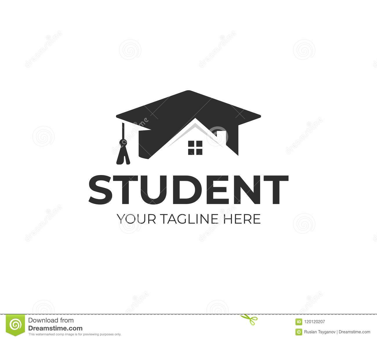 Diploma Template With School Building Cartoon Vector