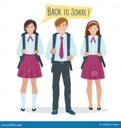 uniform students boy vector cartoon illustration dreamstime preview