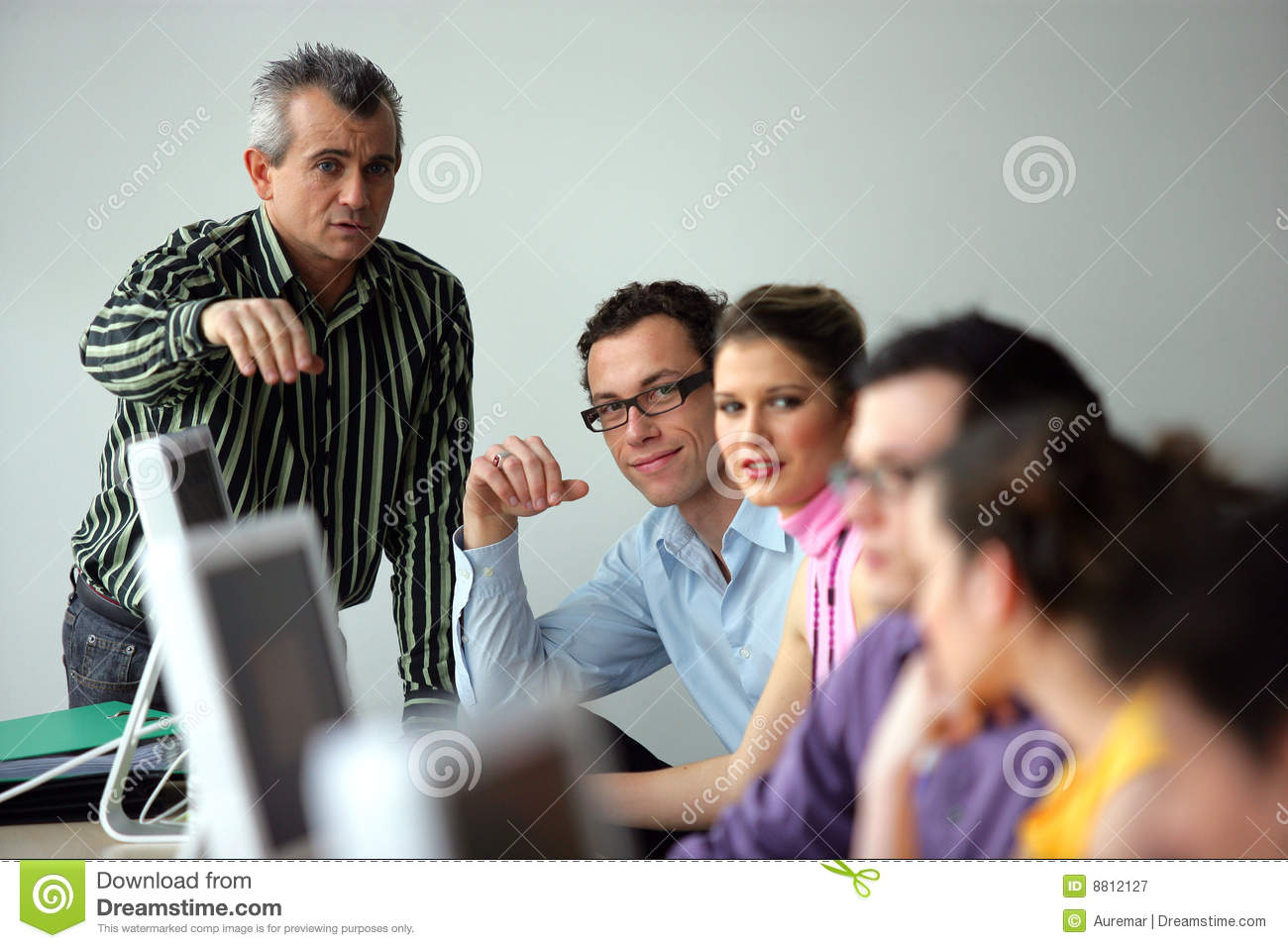 Students in a computer lab stock image Image of room