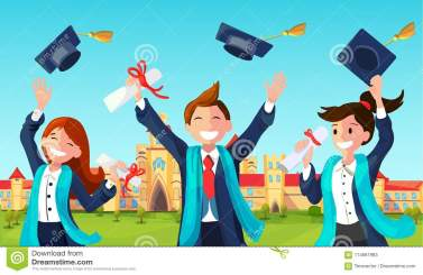 students graduation boy throw cartoon throwing hats air
