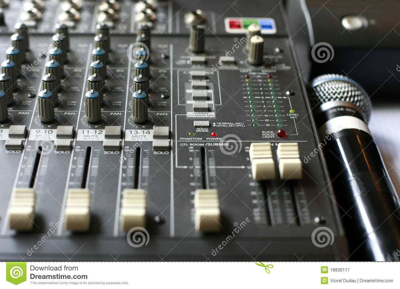 Studio Audio Mixer With Microphone Stock Image  Image of musical equalizer 18830117