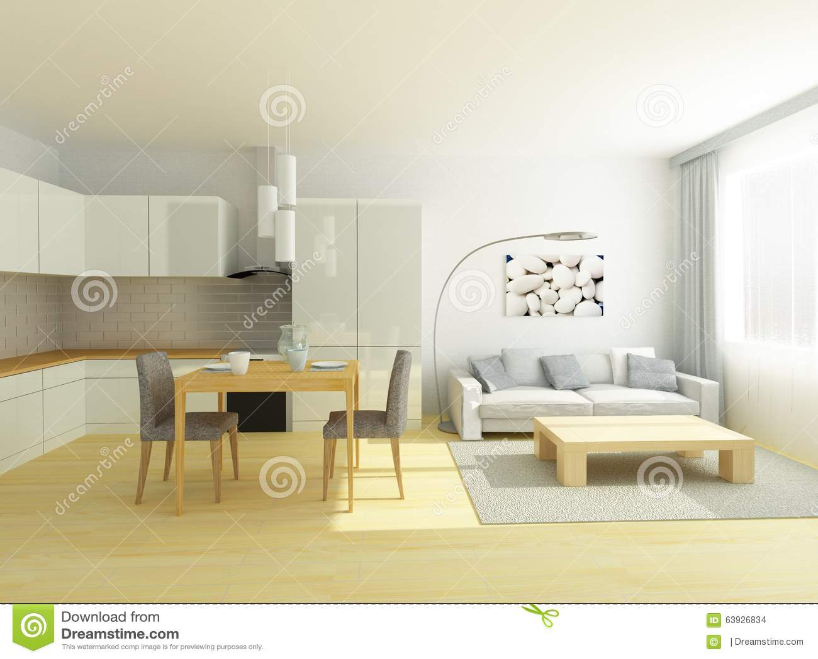 Studio Vlakke Keuken En Woonkamer In Lichtgrijze En Witte