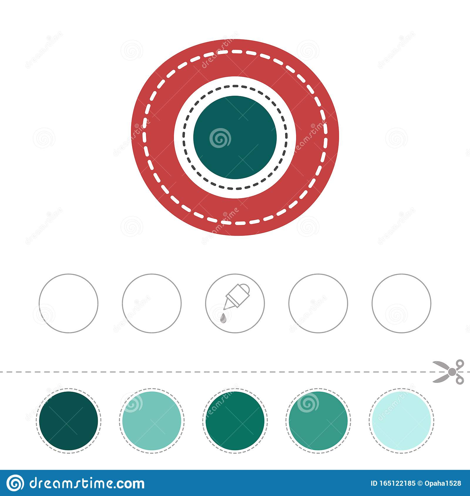 Study The Circle Cut And Glue Figures Stock Vector
